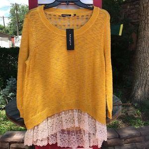 Brand New Maglia Gold Sweater w/Lace